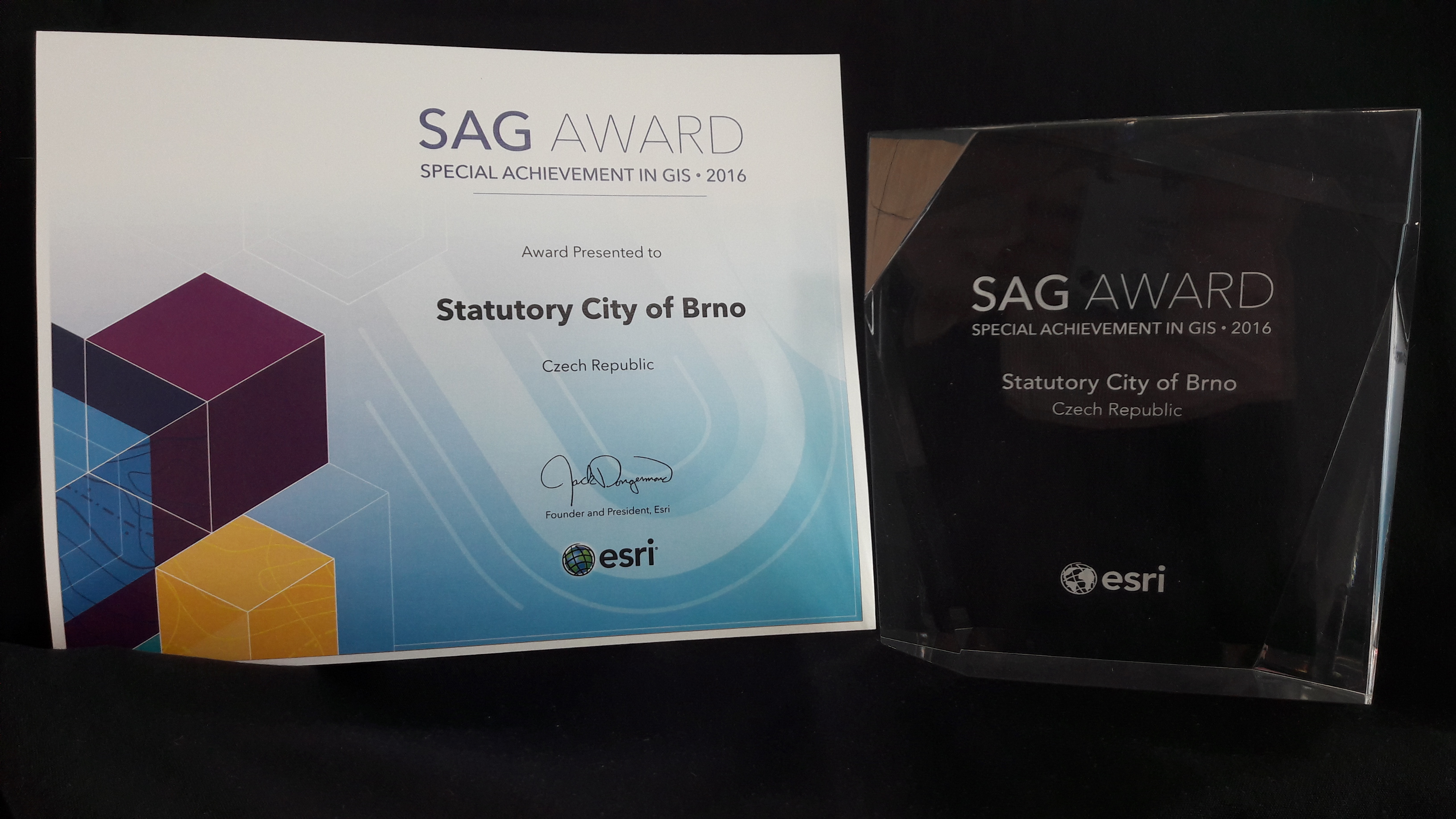 Digital Map of Brno was presented with prestigious SAG award